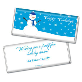 Happy Holidays Personalized Chocolate Bar Happy Holidays Snowman