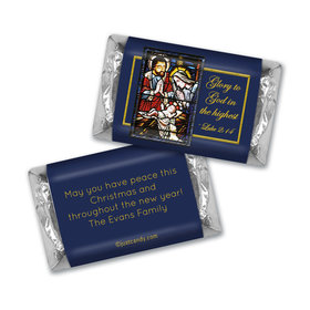 Christmas Personalized HERSHEY'S MINIATURES Holy Night Stained Glass Nativity