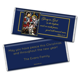 Christmas Personalized Chocolate Bar Holy Night Stained Glass Nativity