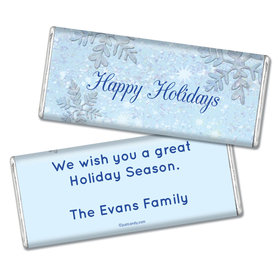 Happy Holidays Personalized Chocolate Bar Classic Snowflakes Happy Holidays