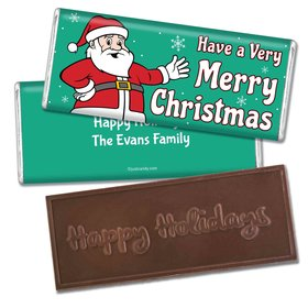 Very Merry SantaEmbossed Happy Holidays Bar Personalized Embossed Chocolate Bar Assembled