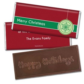 Jingle BellsEmbossed Happy Holidays Bar Personalized Embossed Chocolate Bar Assembled