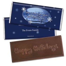Christmas Personalized Embossed Chocolate Bar Glory to God and Good Will