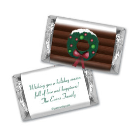 Happy Holidays Personalized HERSHEY'S MINIATURES Log Cabin Holiday Home