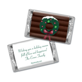 Happy Holidays Personalized HERSHEY'S MINIATURES Wrappers Log Cabin Holiday Home