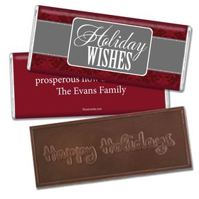 Joy and ProsperityEmbossed Happy Holidays Bar Personalized Embossed Chocolate Bar Assembled