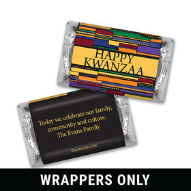 Happy Kwanzaa Personalized HERSHEY'S MINIATURES Wrappers Colorful African Art Happy Kwanzaa