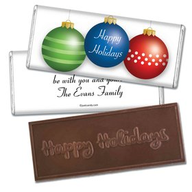 Ornament Trio Embossed Happy Holidays Bar Personalized Embossed Chocolate Bar Assembled