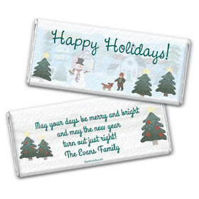 Happy Snowman Personalized Candy Bar - Wrapper Only