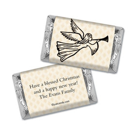 Christmas Personalized HERSHEY'S MINIATURES Wrappers Angels Trumpet Peace and Joy