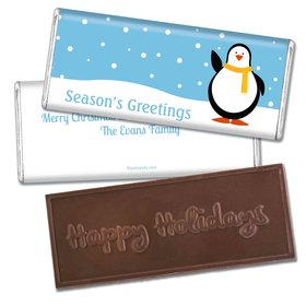 Penguin Pal Embossed Happy Holidays Bar Personalized Embossed Chocolate Bar Assembled