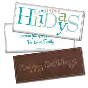 Happy Season Embossed Happy Holidays Bar Personalized Embossed Chocolate Bar Assembled