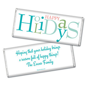 Happy Holidays Personalized Chocolate Bar Multicolor Happy Holidays