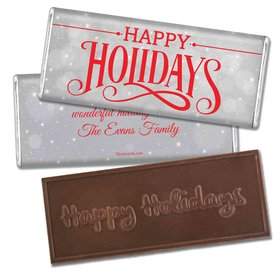Cozy Holiday Embossed Happy Holidays Bar Personalized Embossed Chocolate Bar Assembled