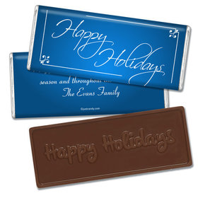 Happy Holidays Personalized Embossed Chocolate Bar Classic Holiday Wish