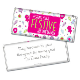 Festive Holiday Personalized Hershey's Bar Assembled