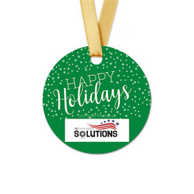 Personalized Christmas Simple Holidays Round Favor Gift Tags (20 Pack)