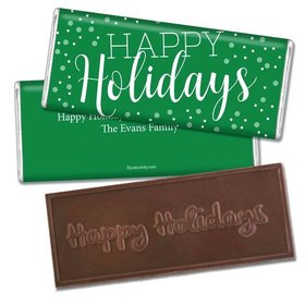 Pop the CorkEmbossed Happy Holidays Bar Personalized Embossed Chocolate Bar Assembled