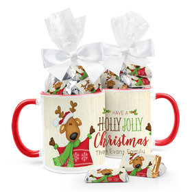 Personalized Christmas Jolly Reindeer 11oz Mug with Hershey's Miniatures