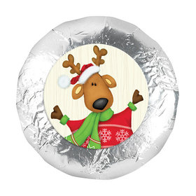 "Personalized 1.25"" Stickers - Christmas Jolly Reindeer (48 Stickers)"