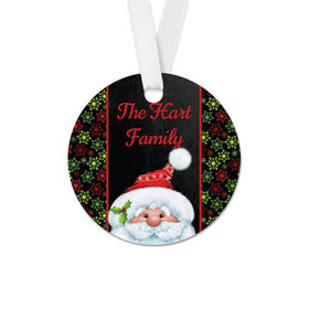 Personalized Christmas Chalkboard Santa Round Favor Gift Tags (20 Pack)