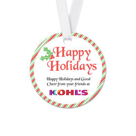 Personalized Christmas Stripes Round Favor Gift Tags (20 Pack)