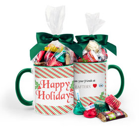 Personalized Christmas Stripes 11oz Mug with Hershey's Holiday Mix