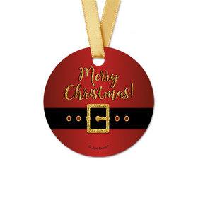 Personalized Christmas Santa Buckle Round Favor Gift Tags (20 Pack)