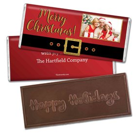 Santa BuckleEmbossed Happy Holidays Bar Personalized Embossed Chocolate Bar Assembled