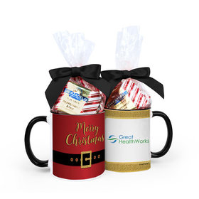 Personalized Christmas Santa Buckle Photo 11oz Mug with Ghirardelli Peppermint Bark Squares