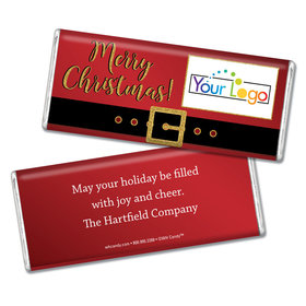 Personalized Add Your Logo Santa Buckle Chocolate Bar & Wrapper