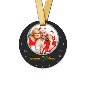 Personalized Christmas Once Upon a Holiday Round Favor Gift Tags (20 Pack)