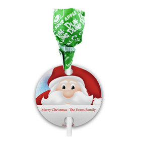 Personalized Ho Ho Santa Christmas Dum Dums with Gift Tag (75 pops)