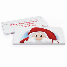 Deluxe Personalized Peeking Santa Christmas Candy Bar Favor Box