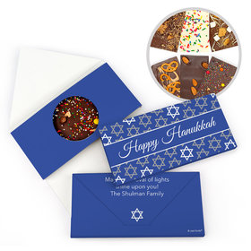 Personalized Festive Pattern Hanukkah Gourmet Infused Belgian Chocolate Bars (3.5oz)