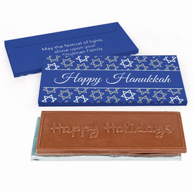 Deluxe Personalized Hanukkah Festive Pattern Chocolate Bar in Gift Box