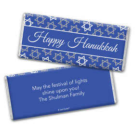 Personalized Hanukkah Festive Pattern Chocolate Bar
