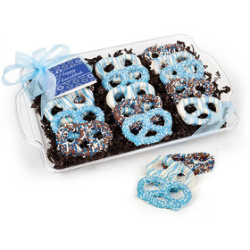 Hanukkah Festive Pattern Chocolate Covered Pretzel Tray (15 pieces)