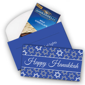 Deluxe Personalized Hanukkah Festive Pattern Ghirardelli Chocolate Bar in Gift Box