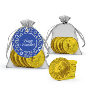 Festive Pattern Hanukkah Milk Chocolate Coins in Organza Bags with Gift Tag