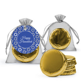 Hanukkah Festive Pattern Chocolate Covered Oreo Cookies in Organza Bags with Gift tag