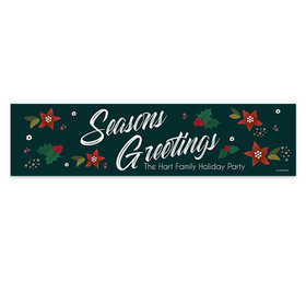 Personalized Holiday Pointsettia Seasons Greetings 5 Ft. Banner