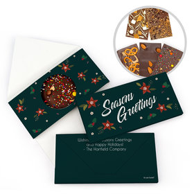 Personalized Pointsettia Seasons Greetings Christmas Gourmet Infused Belgian Chocolate Bars (3.5oz)