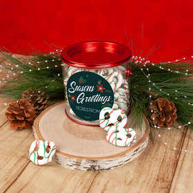 Personalized Christmas Season's Greetings Paint Can with Holiday Yogurt Pretzels