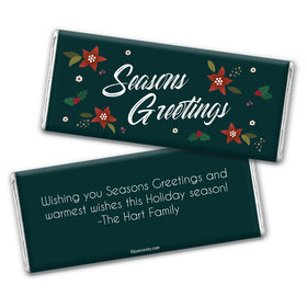 Personalized Christmas Pointsettia Seasons Greetings Chocolate Bar Wrappers