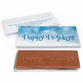 Deluxe Personalized Christmas Frosty Watercolors Chocolate Bar in Gift Box