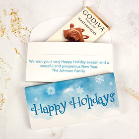 Deluxe Personalized Frosty Watercolor Christmas Godiva Chocolate Bar in Gift Box