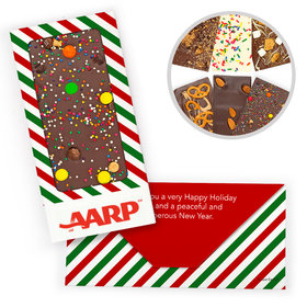 Personalized North Pole Stripes Add Your Logo Christmas Gourmet Infused Chocolate Bars (3.5oz)