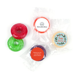 Personalized Life Savers 5 Flavor Hard Candy - Christmas Decorative Wreath with Logo