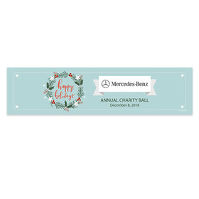 Personalized Christmas Decorative Wreath Add Your Logo 5 Ft. Banner